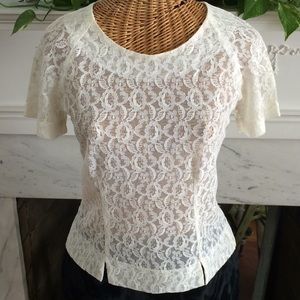 Vintage Ivory Sheer Lace Fitted Blouse